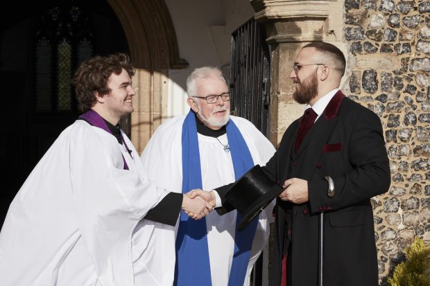 Lewis Cook with Rev Jack Branford and David Martin from the Aylsham Team Ministry
